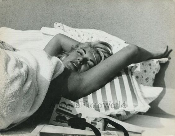 Sleeping Barbara Nichols actress vintage candid art photo