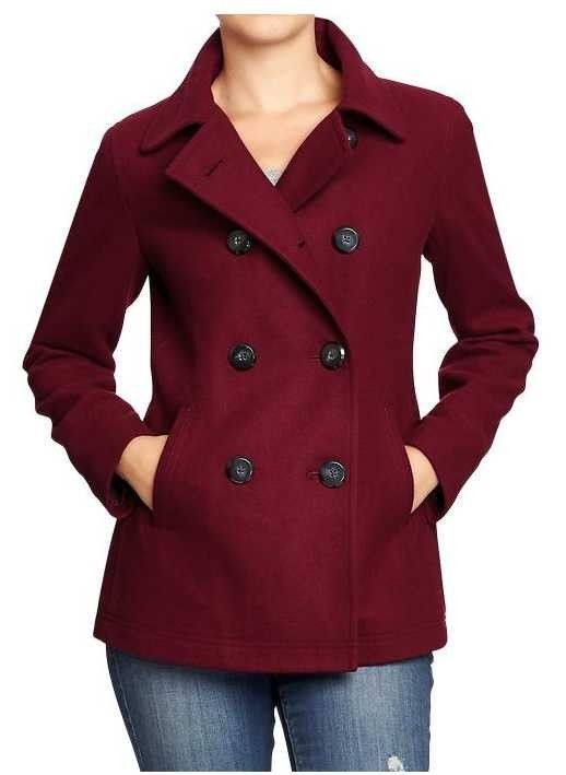 Details about NWT OLD NAVY WOMENS CLASSIC WOOL BLEND PEACOAT PEA