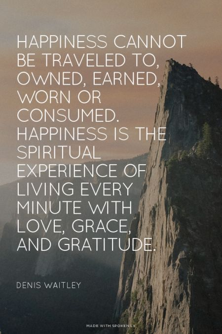 Happiness cannot be traveled to, owned, earned, worn or consumed. Happiness is the spiritual experience of living every minute with love, grace, and gratitude. For more quotes and inspirations: http://www.lifehack.org/articles/communication/happiness-cannot-traveled-owned-earned-worn-consumed-2.html?ref=ppt10: