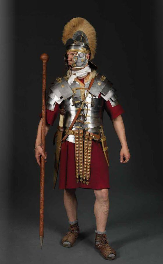 Reenactor attired as a Roman Optio, c. 1st century, CE. Photo by Stef Verstraaten