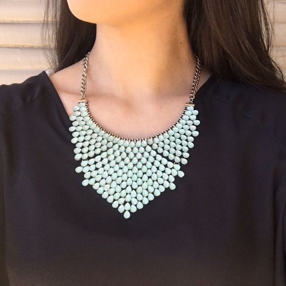 Mint Bib Necklace Mint green bib statement necklace Serval Fashion Jewelry Necklaces
