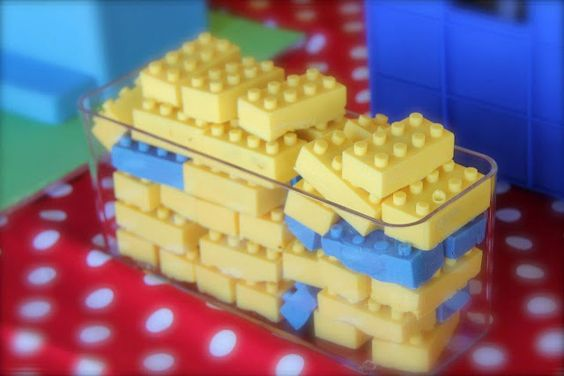 Lego Cake bricks by Coco Jo Cakes.    These are cake surrounded by candy melts