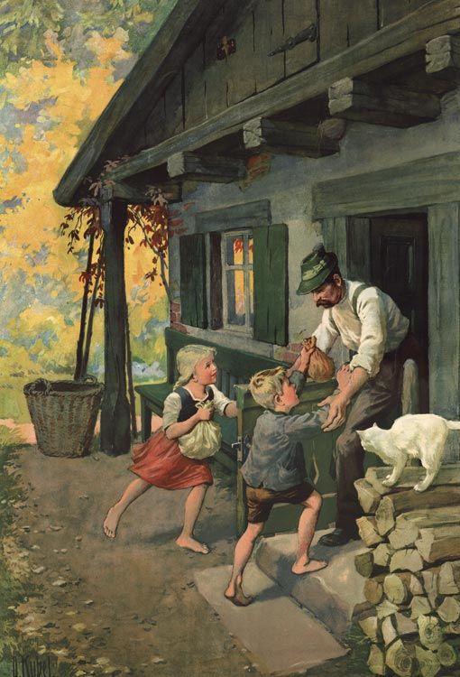 Hänsel & Gretel 6. von 6 Faksimiles Heimkehr von O. Kübel Rarität Märchen 5f - Billerantik