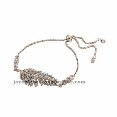 pulsera de pluma con brillo zircon en oro laminado de moda para mujeres…