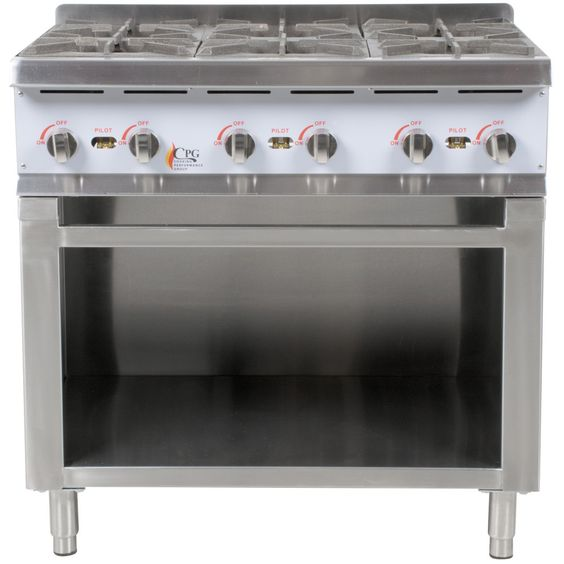 Cooking Performance Group HP636 6 Burner Gas Hot Plate with Cabinet Base…
