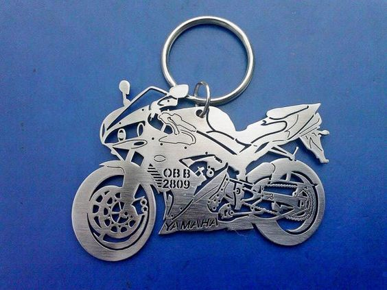Yamaha R1 2005 Personalized Keychain, Keychain model of your Motorcycle, Custom Keychain, Stainless Steel Keyring, Original Personal Gift