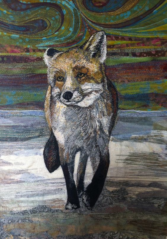 'Strolling Fox' embroidered textile by Rachel Wright.: