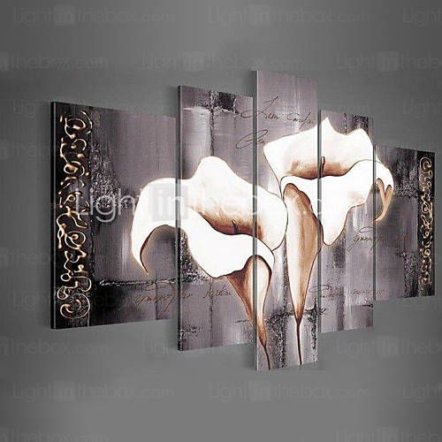 arte da parede pintados à mão preto puro pintura a óleo lírios brancos decoração de casa paisagem em lona 5pcs / set sem moldura de 3798849 2016 por R$137,12