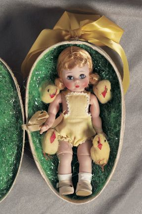 vintage easter egg with 'wendy' doll by Madame Alexander