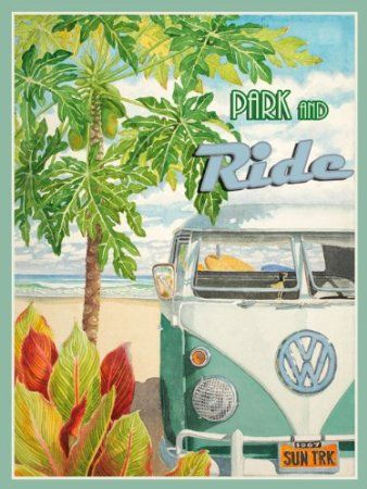 Amazon.com: Park and Ride Metal Sign: Surfing and Tropical Decor Wall Accent: Home & Kitchen