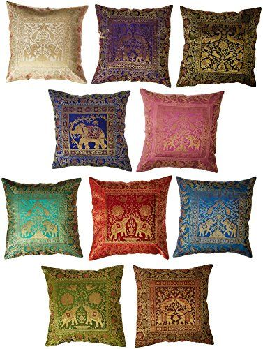 10 Pc Lot Square Silk Home Decor Cushion Cover Indian Silk Brocade Pillow Cover Handmade Ban Indian Pillows Handmade Pillow Covers Pillow Decorative Bedroom