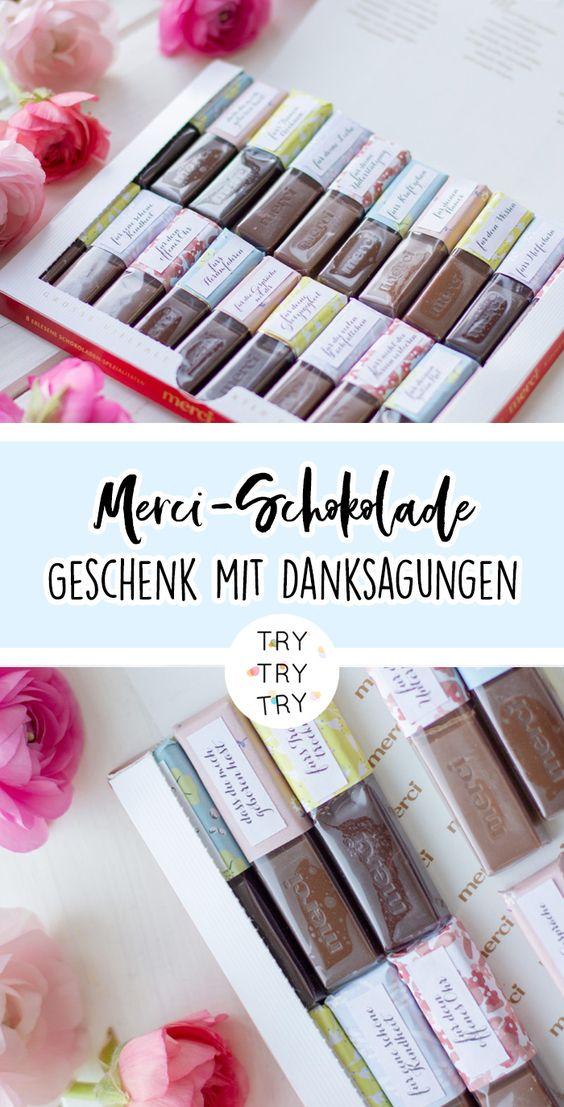 Mini-DIY: Merci-Schokolade als persönliches Geschenk mit Danksagungen
