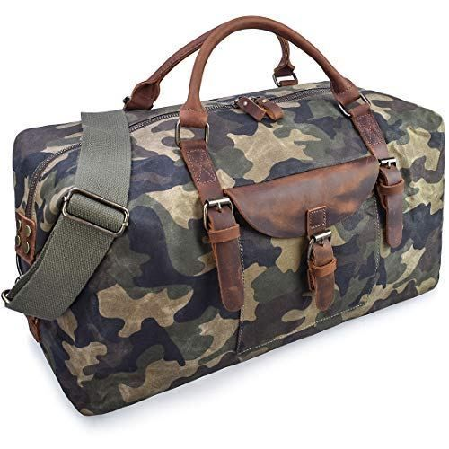 Oversize Canvas Duffel Bag Weekend Overnight Bag Waterproof Leather Travel Tote