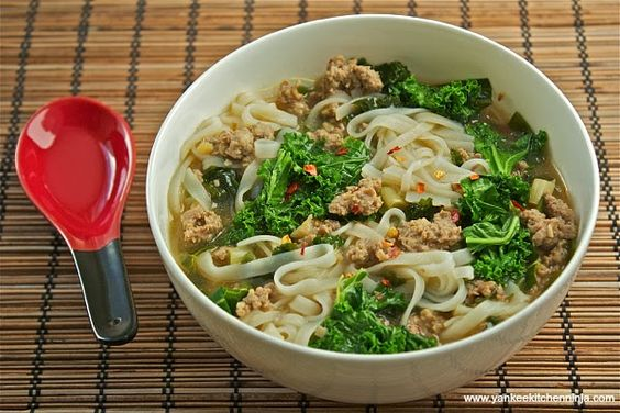 Rice noodle bowl with sausage and greens | www.yankeekitchenninja.com