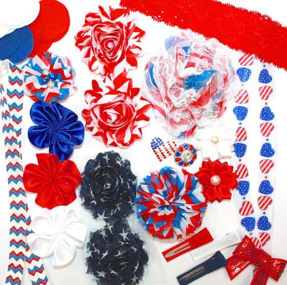 DIY Hair Accessory Kit Red White Blue Memorial by SnickerdoodleDIY, $15.99