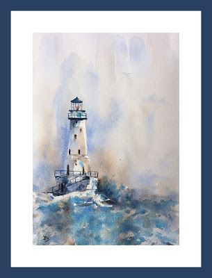 Blue Lighthouse Watercolor Painting On Paper By Jp Wisniewski