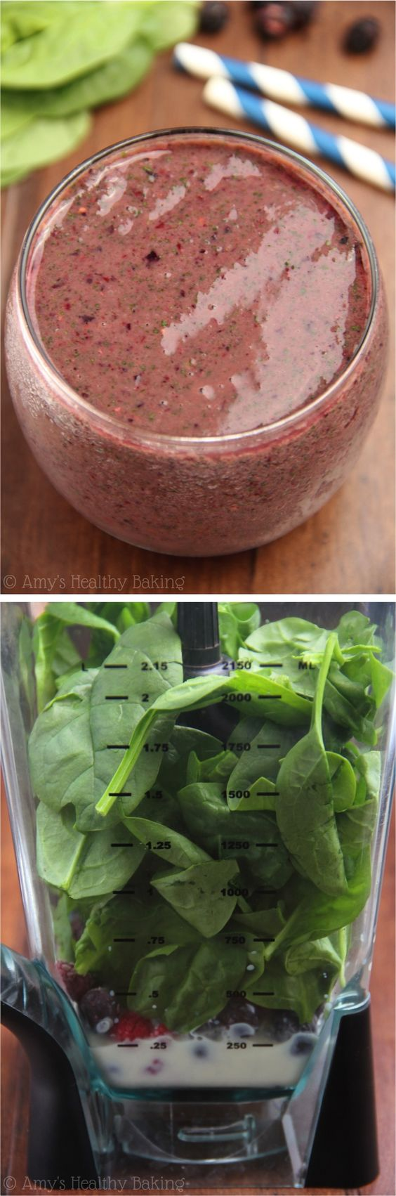 Mixed Berry Green Smoothie -- SO rejuvenating! Only 3 ingredients & 145 calories!