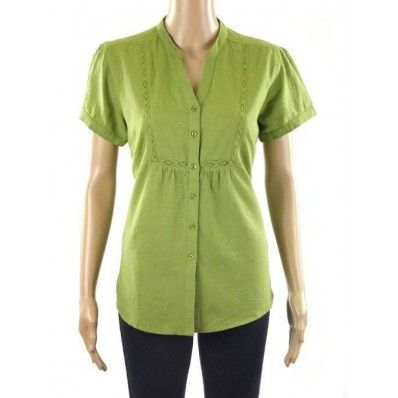 M&S Short Sleeve Linen Blend Blouse. Sizes 8-18.