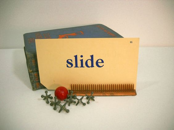 Vintage Flash Cards Words and Pictures SLIDE boy by wallstantiques, $3.00