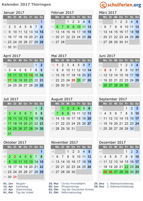 Kalender 2017 mit Ferien und Feiertagen Thüringen