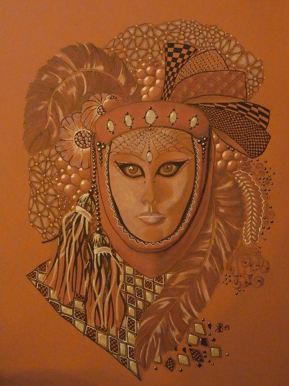 Venezianische Maske  Zentangle
