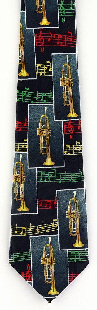 New Trumpet Score Mens Necktie Musical Instrument Trumpets Sheet Music Neck Tie #StevenHarris #NeckTie
