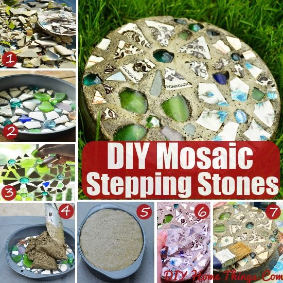Easy Diy Mosaic Stepping Stones Outdoors Pinterest