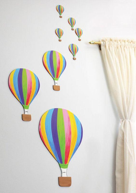 Hot air balloon air balloon and nursery wall art on pinterest for Balloon decoration on wall