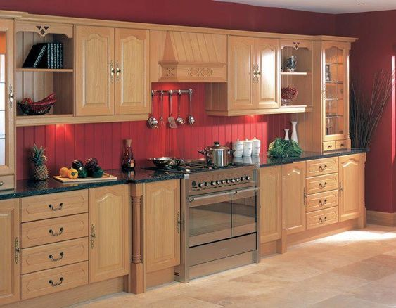 Countertops black countertops and red kitchen walls on for Kitchen ideas white cabinets red walls