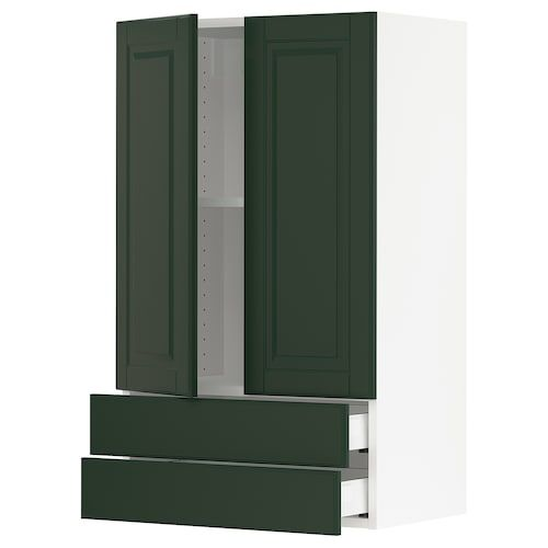 Sektion Wall Cabinet W 2 Doors 2 Drawers White Maximera Haggeby White Ikea In 2020 Wall Cabinet Bodbyn Dark Green Walls