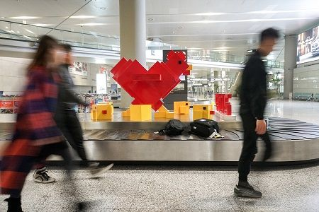 "The ""Flying Rooster"" sculpture groups are on exhibition from Jan. 12th, 2017. This is also SAMDecaux's first approach to make crossover contemporary art sculpture happen in Shanghai Airport."