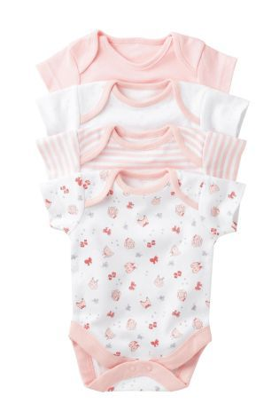 Four Pack Pink Short Sleeve Bodysuits (0mths-3yrs)
