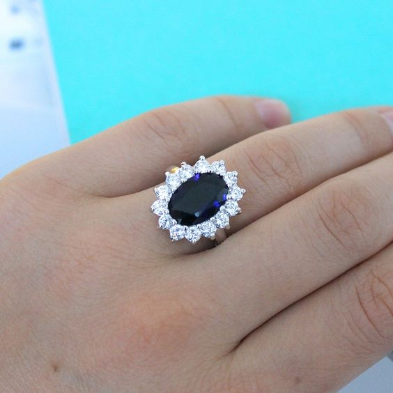 Sterling Silver & Oval Blue Sapphire and CZ Princess Diana/Kate Middleton…