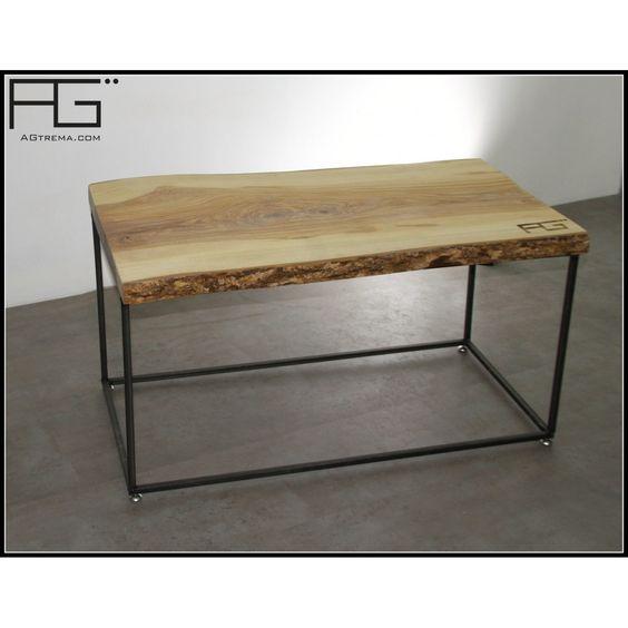 table basse industrielle bords bruts avec corce live. Black Bedroom Furniture Sets. Home Design Ideas
