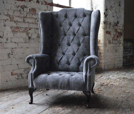 Handmade Bespoke Grey Grande Boss Velvet Chesterfield Chair