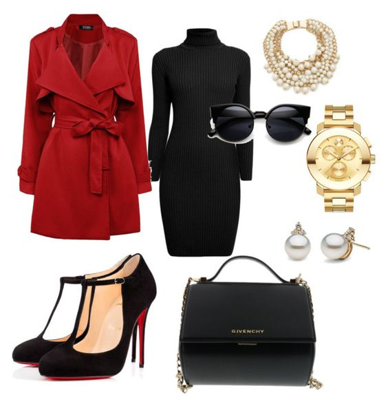 """Black and red get down to business"" by lchassion on Polyvore featuring Rumour London, Christian Louboutin, Givenchy, Kate Spade, Movado, women's clothing, women's fashion, women, female and woman"