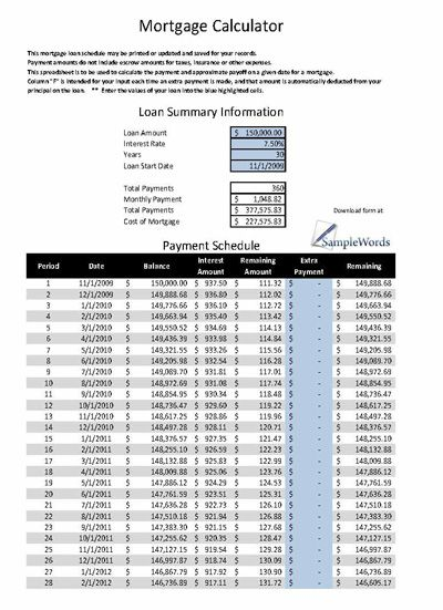 Printable Mortgage Calculator In Microsoft Excel  Calculator