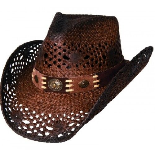 Bullhide Cowboy  Hat Pure Country Toyo Straw Cowboy Hat TOP SELLER!  Bullhide Cowboy  Hat Pure Country Toyo Straw Cowboy Hat TOP SELLER!    Bullhide Cowboy Hat Pure Country in a brown toyo straw 4 inch brim with a 3.5 inch pinched front crown with a wide hat band with conchos to accent! Top Seller!    Pure Country  Toyo Straw  4 Inch Brim  3.5 Crown  Brown  Sizes: S-M-L  ...