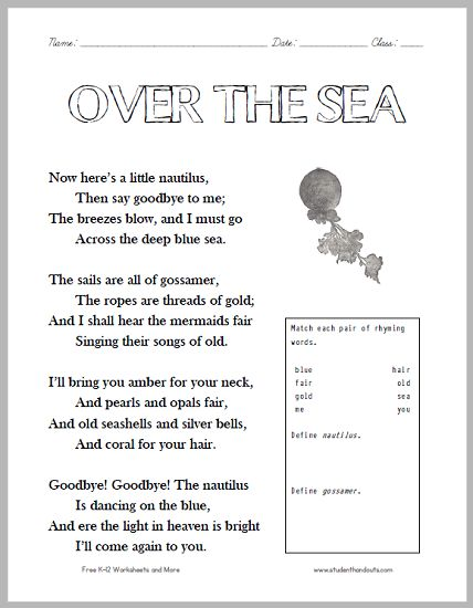 over the sea poem worksheet free to print pdf grades 2 4 ela english language arts. Black Bedroom Furniture Sets. Home Design Ideas