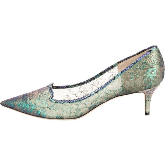 Pre-owned Jimmy Choo S/S 15 Iridescent Lace Kitten Heels ($220) ❤ liked on Polyvore featuring shoes, pumps, purple, jimmy choo pumps, purple shoes, iridescent shoes, pointed toe kitten heel pumps and multi colored pumps
