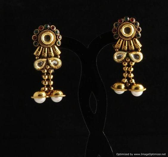 Indian Bollywood Designer Fashion Jewelry Polki Hanging Jhumka Earrings Set #VGJewel #DropDangle