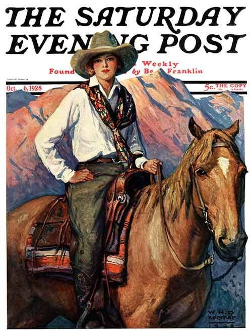 Saturday Evening Post cover for Oct. 6, 1928 by W.H.D. Koerner: