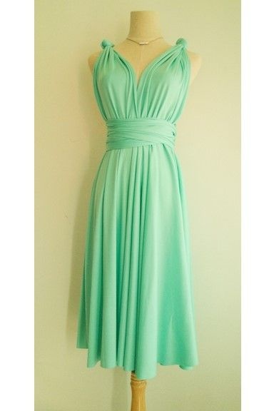 Turquoise Green Mini Convertible Wrap Dress can be wore in more than 20 styles and fits many different body types easily. Ideal for bridesmaid dress and other formal occasions too.