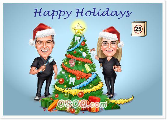 Christmas Tree Caricature Baby Illustration Family Illustration