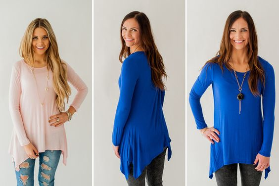 DROP SIDE SOLID TUNICS- 2 COLORS Drop Side Solid Tunics STARTING AT  47% OF