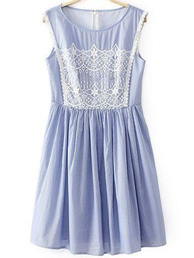 Light Blue Sleeveless Contrast Lace Front Pinstriped Dress - Sheinside.com
