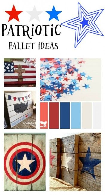Patriotic pallet ideas Red white blue Pallet crafts and
