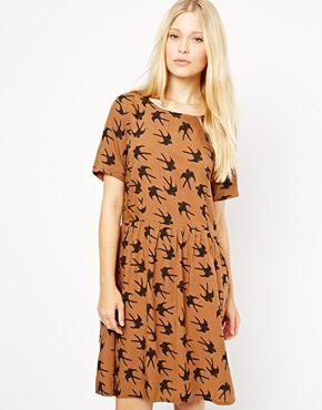 Ruby Rocks Smock Dress In Swift Print