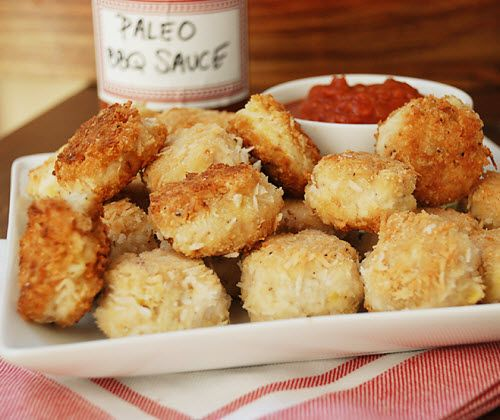 Coconut chicken nuggets with 'BBQ' sauce.