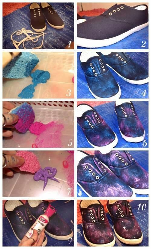 I've been looking and looking for a good diy for a galaxy shirt and I can't find one this is perfect. Even if it is on a pair of shoes lol: